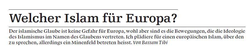 """Welcher Islam für Europa? – Beitrag in der """"Weltwoche"""""""