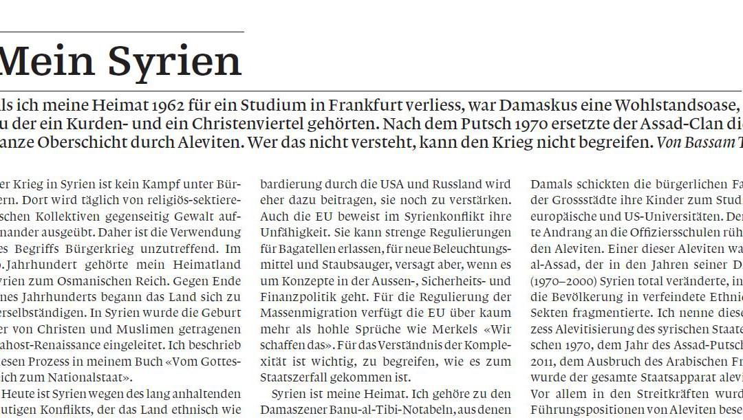 """""""Mein Syrien"""": Artikel von Bassam Tibi in der schweizer Weltwoche sowie in der österreichischen Kleinen Zeitung"""