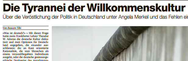 """""""Die Tyrannei der Willkommenskultur"""": Artikel in der Basler Zeitung"""