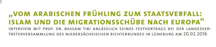 Interview mit Bassam Tibi im Mitteilungsblatt des Niedersächsischen Richterbundes (NRB)