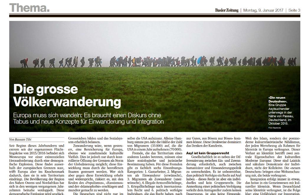 """""""Die große Völkerwanderung"""": Neuer Artikel in der Basler Zeitung erschienen"""