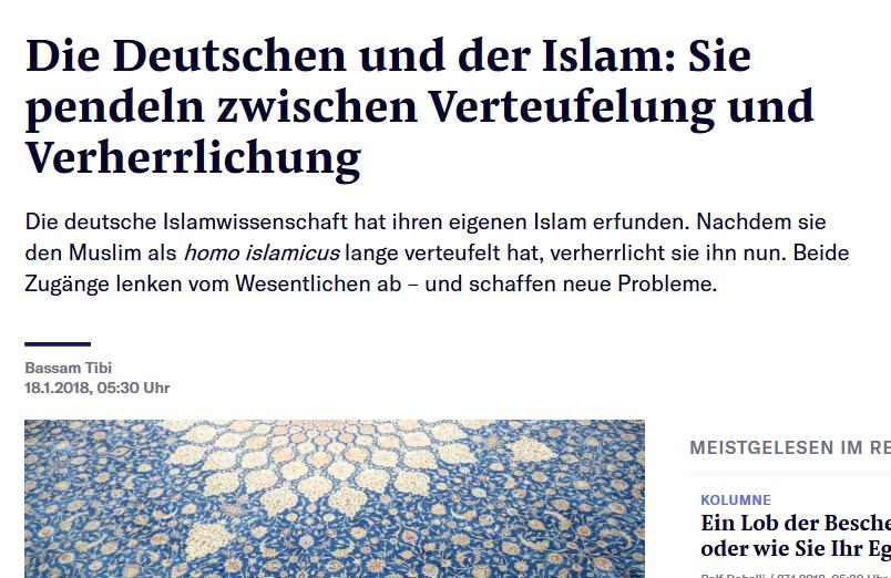 """NZZ-Essay über deutsche Extreme im deutschen Islam-Bild nach dem Muster von der """"Verteufelung"""" zur """"Verherrlichung"""""""