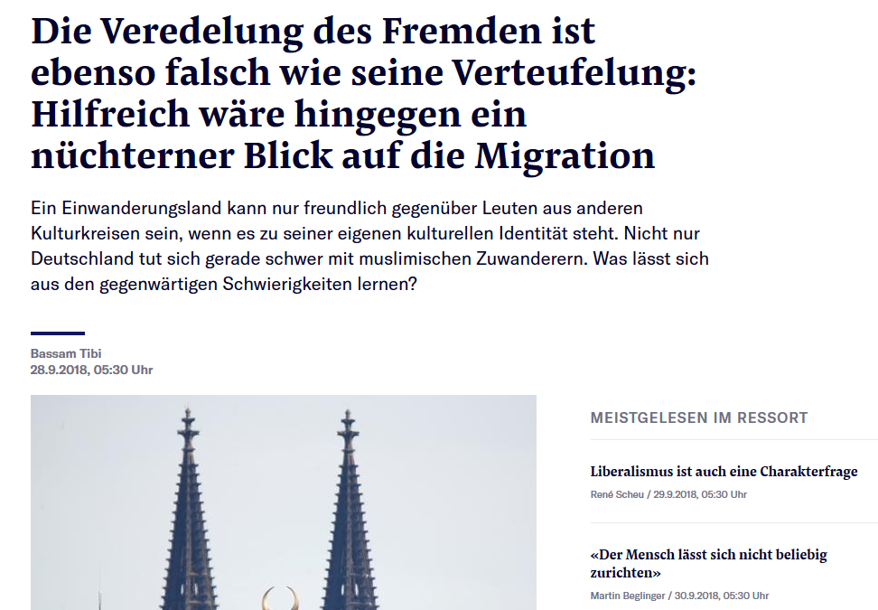 """""""Bitte schön nüchtern bleiben. Deutschland tut sich schwer mit den muslimischen Zuwanderern"""" – Artikel von Bassam Tibi im NZZ-Feuilleton erschienen"""